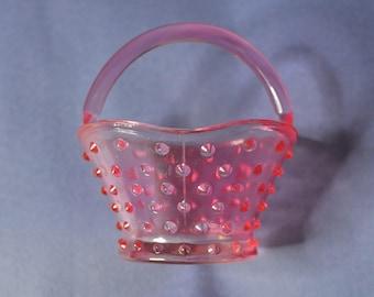 ON SALE!!!Vintage Pink Glass Hobnail Basket
