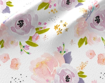 Peachy Plum Floral Fabric by the Yard Cotton Baby Girl Fabric Nursery Fabric Organic Cotton Knit Fabric Minky Knit Flowers 6280955