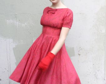 Vintage 1950's Jonathan Logan Dress // 50s Ruby Red and Golden Baroque Print Party Dress //