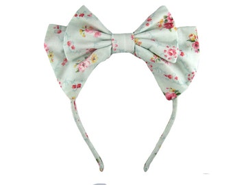 Lolita bow headbow light blue floral japanese fabric headband head band alice headdress handmade accessory