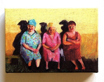 Sharing our secrets / Tiny canvas print / Folk art print - wall art prints- wall hanging ART