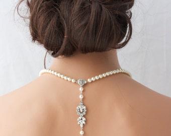Pearl Backdrop Bridal Necklace Crystal Pearl Wedding Necklace Simple Back Drop Swarovski Crystal Wedding Jewelry AMELIA
