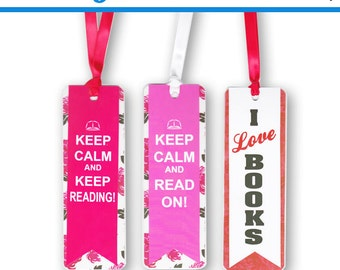 3 Keep Calm and Read I love Books Bookmarks Gift Set of 3
