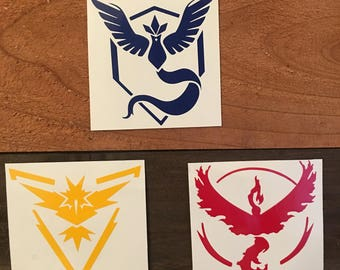 Pokemon Go Team Decal - Mystic - Valor - Instinct - Car, phone, laptop sticker