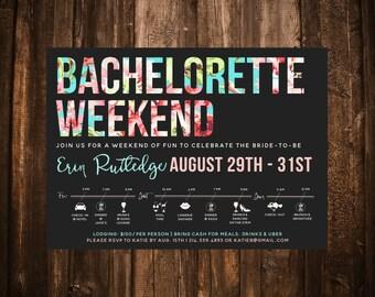 Bachelorette Weekend Invitation; Itinerary; Icons; Pink & Aqua; Printable or set of 10