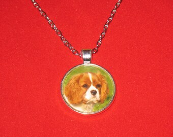 King Charles Spaniel Dog Glass Cabochon Silver Pendant Necklace 24 inch