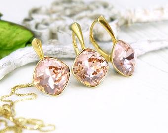 Blush pink crystal earrings, Swarovski earrings, Bridesmaids gift, Soft pink cushion cut earrings pendant, Bridesmaids earrings, Crystal set