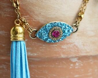 Dazzling Cyan & Pink Eye Charm Bracelet