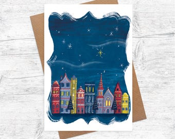 Danish Houses   Illustrated Christmas Card   Pack of 6 Greetings Cards   Illustration   Starry Night   Christmas Lights   Festive   A6