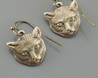 Vintage Earrings - Pussycat Earrings - Cat Earrings - Pussyhat Earrings - Feminist Jewelry - Brass Earrings - handmade jewelry