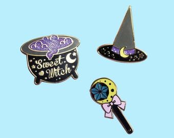 Sweet Witch Pin Collection - Original Black and Gold Version