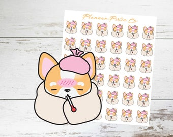 Corgi Planner Stickers // Sick Day // Cold  // Flu // 018