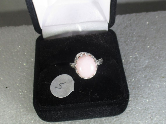 Pink opal  handmade sterling silver ring size 5