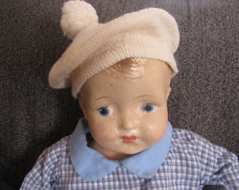 Doll Hat Hand Knitted Wool for Larger Doll  Vintage
