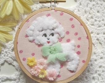Embroidered Art Hoop - Honey Lamb