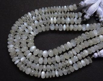 White Moonstone Faceted Rondelles, White Moonstone Rondelle Beads (7 to 9 mm)