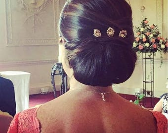 Blush Rose Gold Plated Hair Jewels with Swarovski Crystal on Bobby Pin for Vintage Bridal Hair Style or Victorian Wedding 1920s Headpiece