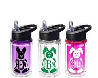 Bunny Monogram Tumbler, Monogram Kids Water Bottle, 10 oz Water Bottle