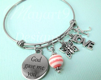 God Gave Me You,Gift for Mom,Gift for Wife,Girlfriend,Anniversary,Wedding,Daughter,Friend,Bracelet,Bangle,Jewelry,Charm,Personalized,Initial