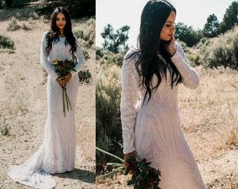Bohemian Boho Sheer Stretch Mesh Lace Sequins Long Sleeve Mermaid Hourglass WEDDING Maxi Dress Gown  W/ Train Saldana Vintage Elopement