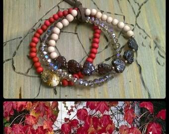 Bracelet set leaves glass beads wooden beads