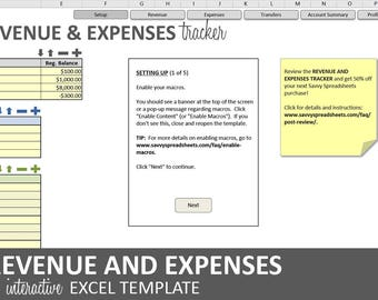 Revenue and Expenses Tracker - 2017 | Excel Business Profitability Template | Account Revenue and Expense Log | Instant Digital Download