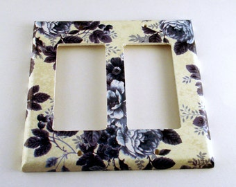 Double Rocker Light Switch Cover Wall Decor  Switch Plate in Vintage Blue (293DR)