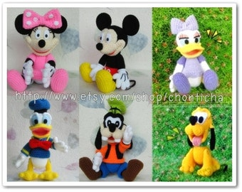 Mickey Mouse and the Gang (small size - 6patterns) - PDF amigurumi crochet pattern