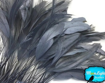 Rooster Eyelash Feathers, 1 Dozen - GREY Stripped Coque Tail Feathers : 3822