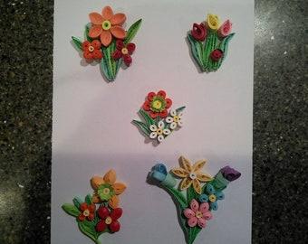 Quilled Flower Scrabook Embelishments