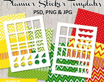 DIY Kit Planner stickers - Commercial use templates - blank template Erin Condren Life Planner vertical layout, full box, ribbons