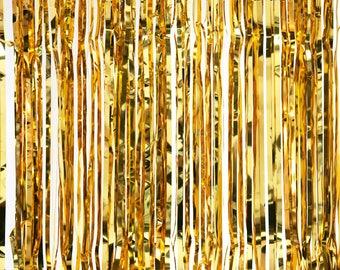 Metallic Foil Fringed Curtain, 96-Inch