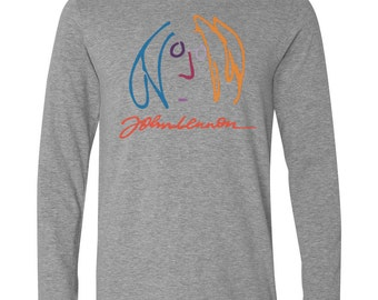 Long Sleeve Grey T-Shirt with John Lennon Imagine influenced design - double fan gray