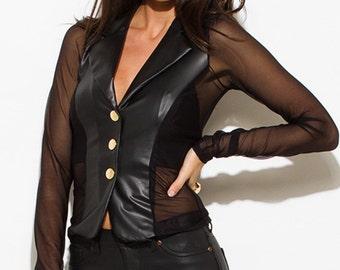 Womens black faux leather sheer mesh contrast golden button long sleeve blazer