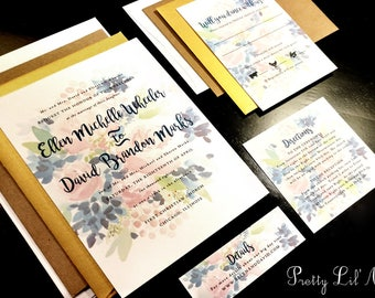 Watercolor Flower Custom Unique Wedding Invitation Paint Outdoor Floral Leaves Unique Spring Summer Fall Winter Kraft Whimsical Watercolor