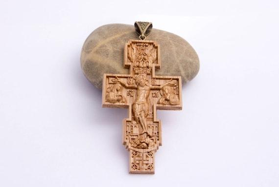Orthodox cross wooden cross wooden pendant cross on chest orthodox cross wooden cross wooden pendant cross on chest wooden necklace cross orthodox religion carved wooden cross oak cross wood cross aloadofball Gallery