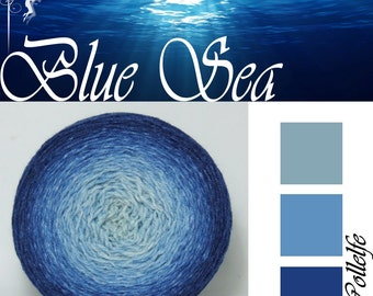 Blue Sea* Gradient yarn Merino Silk hand dyed - fingering weight