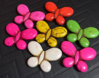 Magnesite Butterfly Focal Beads in Assorted Colors ... 7 ct.