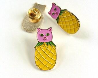 PINEAPURR - pineapple cat soft enamel pin. Pink and yellow fruit kitty lapel pin badge. Cute quirky gold enamel pin. kawaii funny cat pin