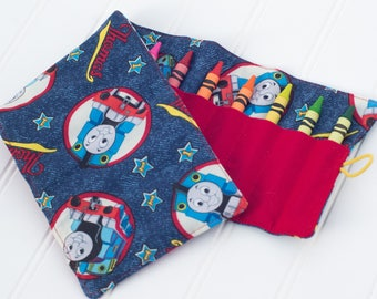 Thomas and Friends Crayon Roll, Crayon Holder, Crayon Roll, Toddler Gift, Kid Travel, Birthday Party Gift
