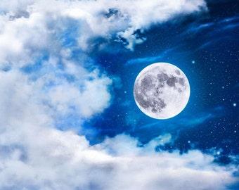 Moon and Clouds Print, Full Moon Print, Moon Print, Moon Photo, Full Moon Picture, Star Moon Print, Nursery Print, Nursery, Moon Theme, Moon
