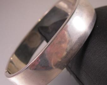 Mexican Silver Plated Copper Hinged Bangle Bracelet Vintage Jewelry Vintage Bracelet