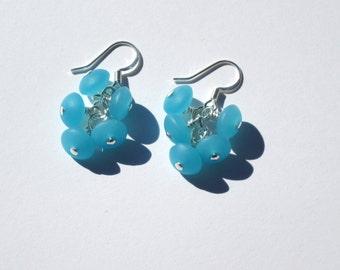 Blue Sea Glass Cluster Earrings