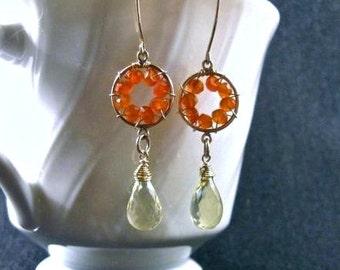 Pinwheel Design- Earrings, Carnelian, Lemon Quartz, Gold Filled, Wire Wrapped