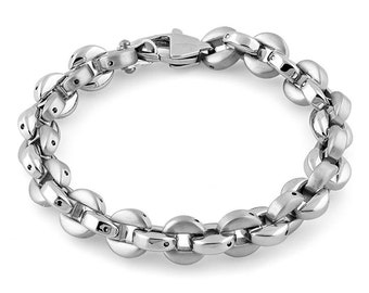 """8"""" 8.5"""" and 9"""" Stainless Steel Round Link Bracelet"""