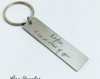 Engraved Handwriting, Engraved Handwriting Keychain, Handwriting Key Ring, Engrave Your Handwriting, Handwriting Key Chain, Engraving