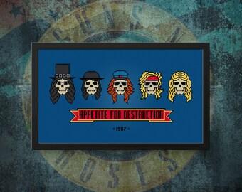 Guns N' Roses Cross Stitch Pattern   Skulls Cross Stitch   GNR Cross Stitch   Appetite For Destruction Cross Stitch   Rock and Roll Xstitch