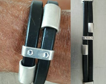 Men's Black leather cuff, Black leather silver tubes bracelet