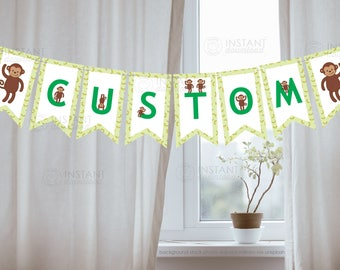 Printable DIY Green Monkey Banner, Custom Baby Monkey Birthday Banner, Personalized Baby Shower Sign, Bunting, Monkey Decoration Download