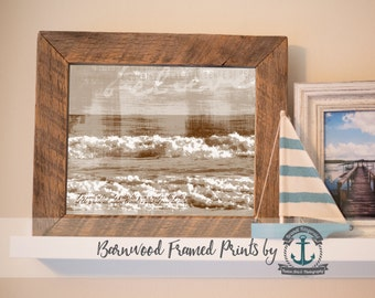 Peace and Calm Ocean Poem (Sepia) - Reclaimed Barnwood Framed Print - Ready to Hang - Sizes at Dropdown